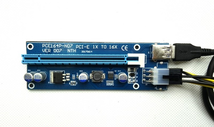 RISER PCI-EXPRESS 1x-16x USB 3.0 6PIN - SATA 007